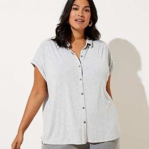 soft gray loft button down short sleeve top new